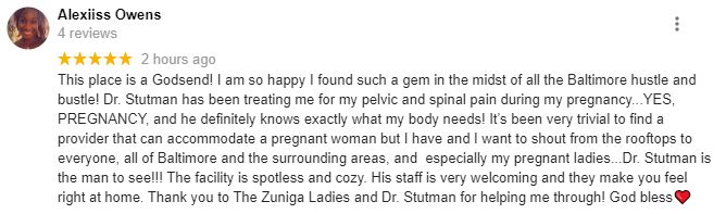 Chiropractic Baltimore MD Broadway Back and Pain Clinic Patient Testimonial